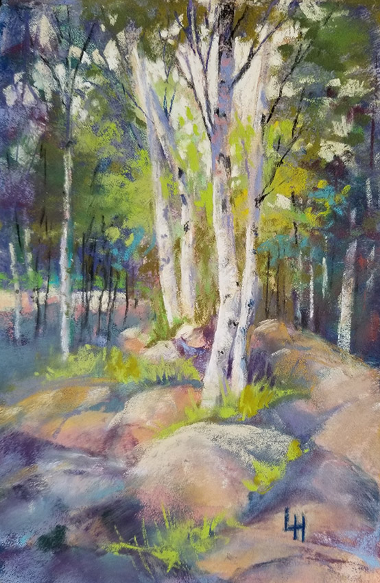 "Linda Hansee ""The Birches"" 8x5.5 pastel $250."