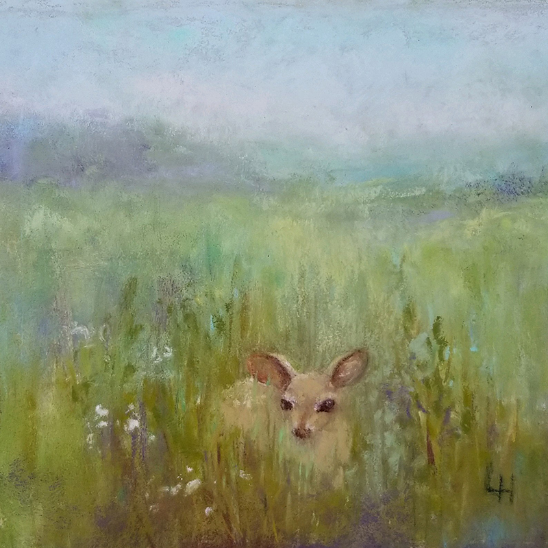 "Linda Hansee ""Waiting for Mom"" 4x4 pastel $250. SOLD"