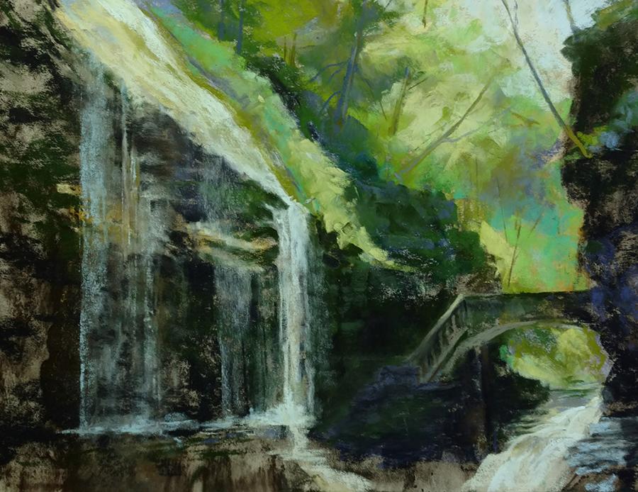 "Linda Hansee ""Watkins Glen Gorge"" 9x12 pastel $350."