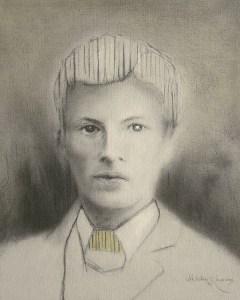 "Edd Tokarz Harnas ""Another Boy with Striped Hair"" 10x8 pencil/acrylic on canvas $170."