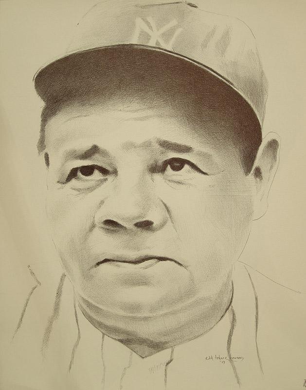 "Edd Tokarz Harnas ""Babe Ruth"" 14x11 ballpoint pen/paper $160. (unframed)"