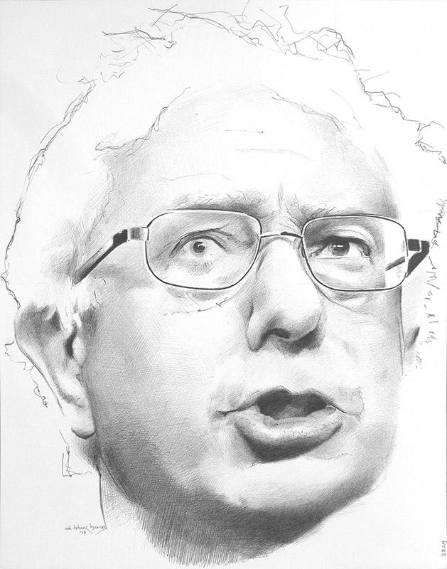 "Edd Tokarz Harnas ""Bernie Sanders"" 14x11 ballpoint pen/paper $160. (unframed)"