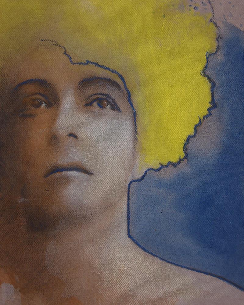 "Edd Tokarz Harnas ""Chorus Girl on the Yellow Submarine"" 10x8 pencil/acrylic on gallery wrapped canvas $170."