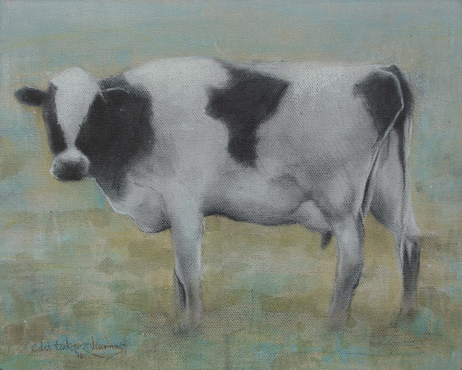 "Edd Tokarz Harnas ""Cow"" 10x8 pencil/acrylic on canvas $170."