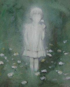 "Edd Tokarz Harnas ""Ghost Girl"" 10x8 gallery wrap pencil & acrylic on canvas $170."