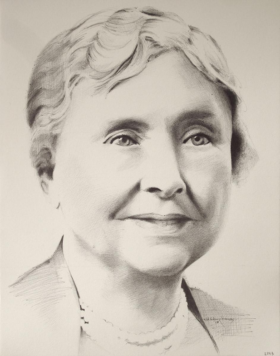 "Edd Tokarz Harnas ""Helen Keller"" 14x11 ballpoint pen/paper $160. (unframed)"