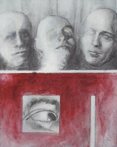 "Edd Tokarz Harnas ""Identity Parade"" 10x8 pencil/acrylic on canvas $170."