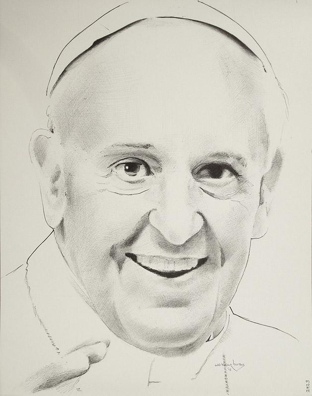 "Edd Tokarz Harnas ""Jorge Mario Bergoglio (Pope Francis)"" 14x11 ballpoint pen/paper $160. (unframed)"