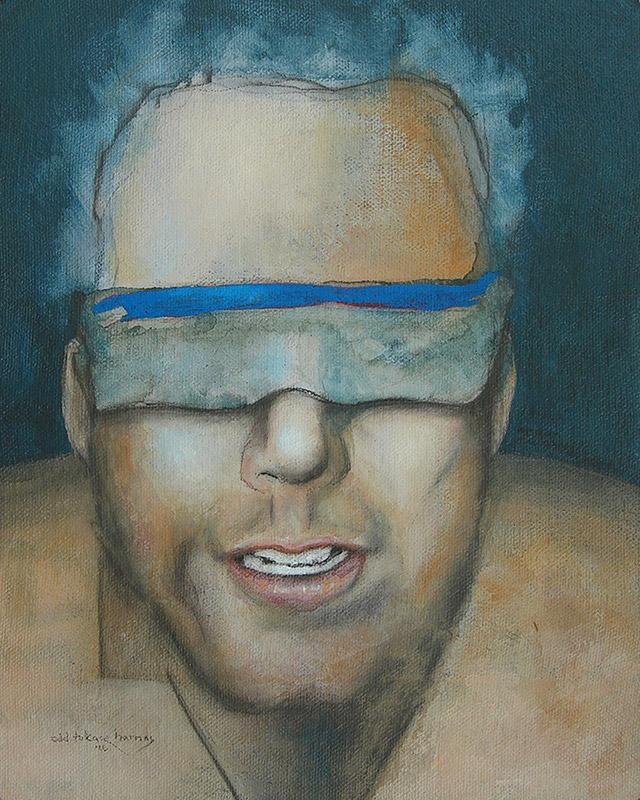 "Edd Tokarz Harnas ""Managed Outcome(s)"" 10x8 pencil/acrylic on canvas $170."