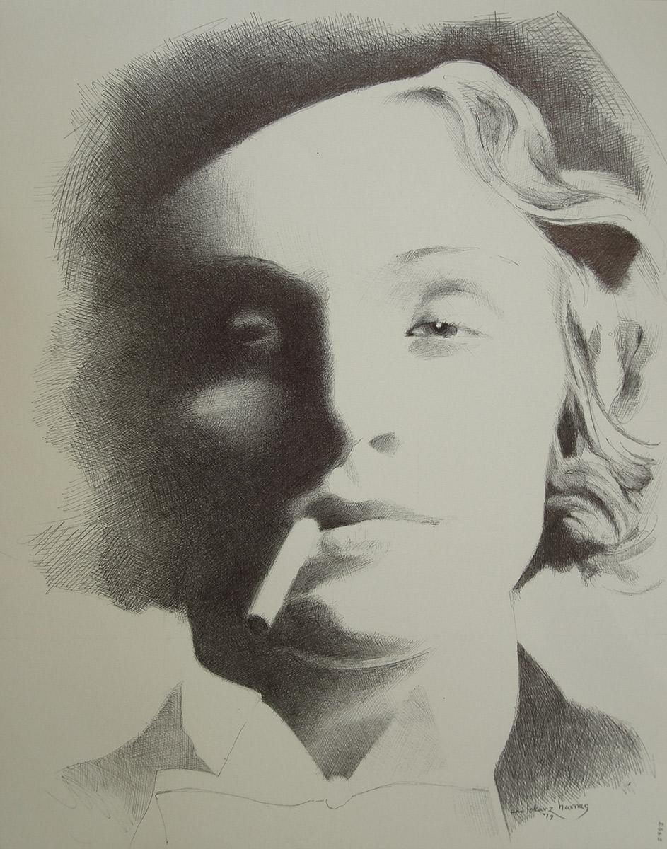 "Edd Tokarz Harnas ""Marlene Dietrich"" 14x11 ballpoint pen/paper $160. (unframed)"