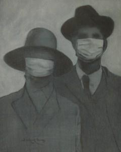 "Edd Tokarz Harnas ""Maskenfreiheit II"" 10x8 pencil/acrylic on canvas $170."