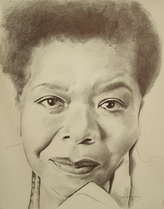 "Edd Tokarz Harnas ""Maya Angelou"" 14x11 ballpoint pen/paper $160. (unframed)"
