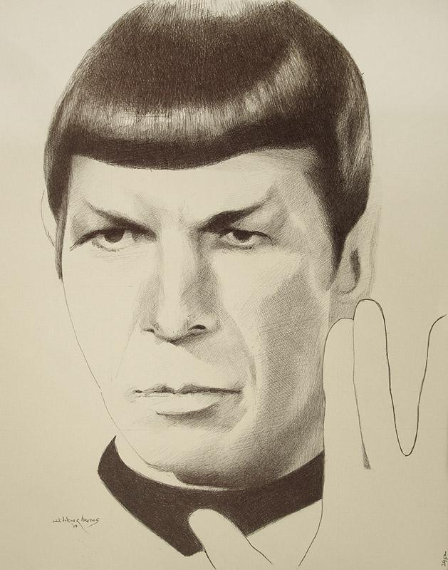"""Edd Tokarz Harnas """"Mr. Spock"""" 14x11 ballpoint pen/paper $160. (unframed)"""