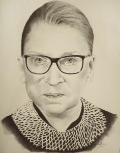 "Edd Tokarz Harnas ""Ruth Bader Ginsburg"" 14x11 ballpoint pen/paper $160. (unframed)"