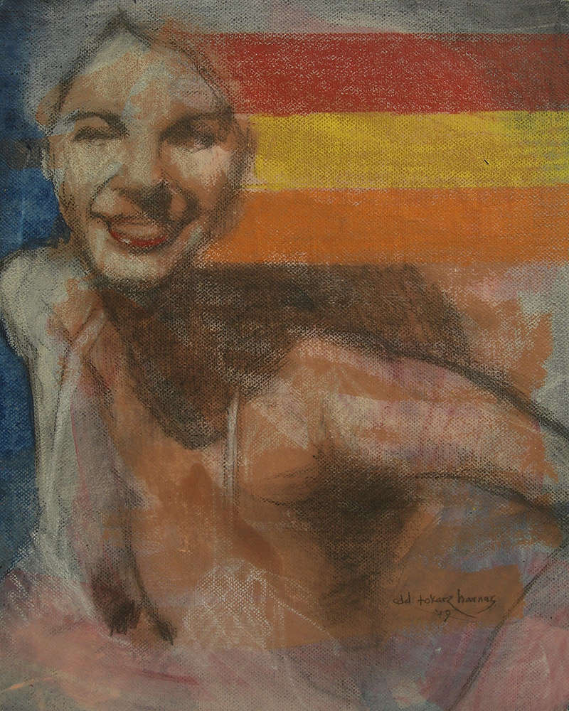 "Edd Tokarz Harnas ""She's a Rainbow"" 10x8 pencil/acrylic on gallery wrapped canvas $170."