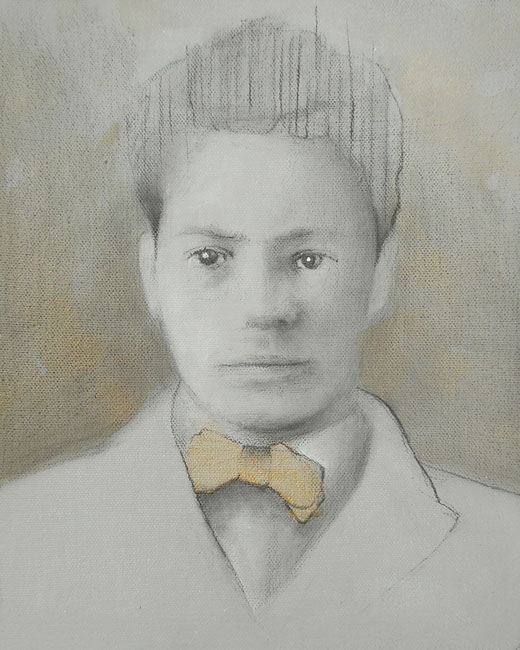 "Edd Tokarz Harnas ""The Boy with Striped Hair"" 10x8 gallery wrap pencil/acrylic on canvas $170."