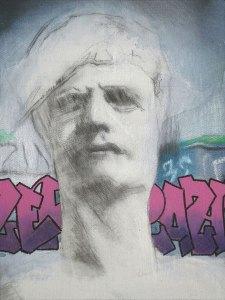 "Edd Tokarz Harnas ""Zero Grazing"" 12x9 acrylic/graphite gallery wrap $200."