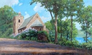 "Brian Hart ""Lake View - Garrett Chapel"" 11x18 acrylic $1,100."