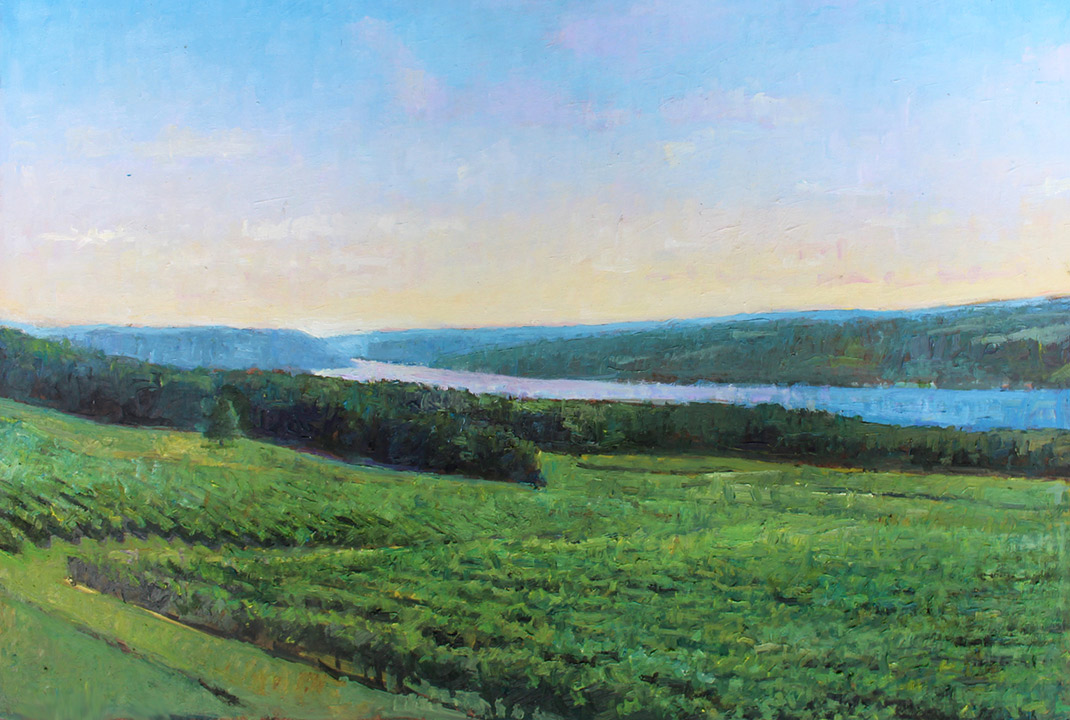 """Brian Hart """"Morning Whisper - View from Heron Hill"""" 13x18 oil $1,450."""