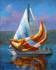 "Brian Hart ""Releasing the Spinnaker"" 12x9 acrylic $810."