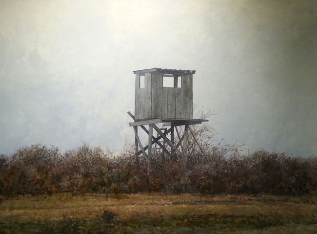 "David Higgins ""Deer Stand"" 18x24 oil $1,200."