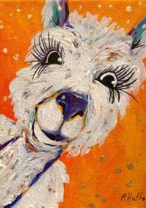 """Amy Hutto """"Al"""" (Alpaca) 7x5 acrylic/gold leaf $195. gallery wrap"""