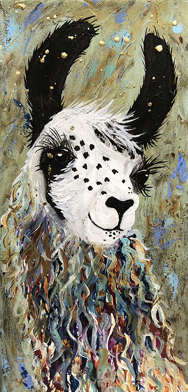 "Amy Hutto ""Ande"" 12x6 gallery wrap acrylic/gold leaf $250. SOLD"