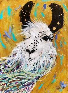 "Amy Hutto ""Ciao, Bella!"" 12x9 acrylic/gold leaf $315. gallery wrap"