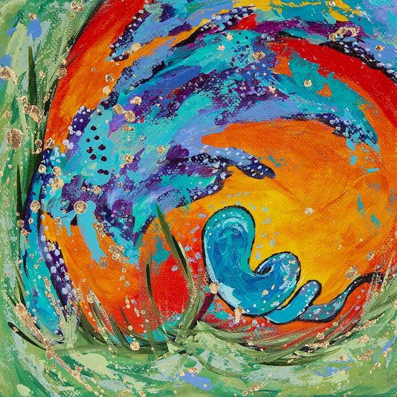 "Amy Hutto ""Corkscrew"" 6x6 acrylic/gallery wrap $195."