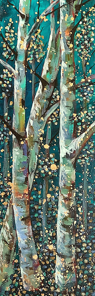 "Amy Hutto ""Cutting In"" 24x8 acrylic/gold leaf $495. gallery wrap"