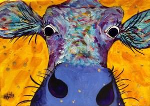 "Amy Hutto ""Egads!"" 5x7 acrylic/gold leaf $195. gallery wrap"