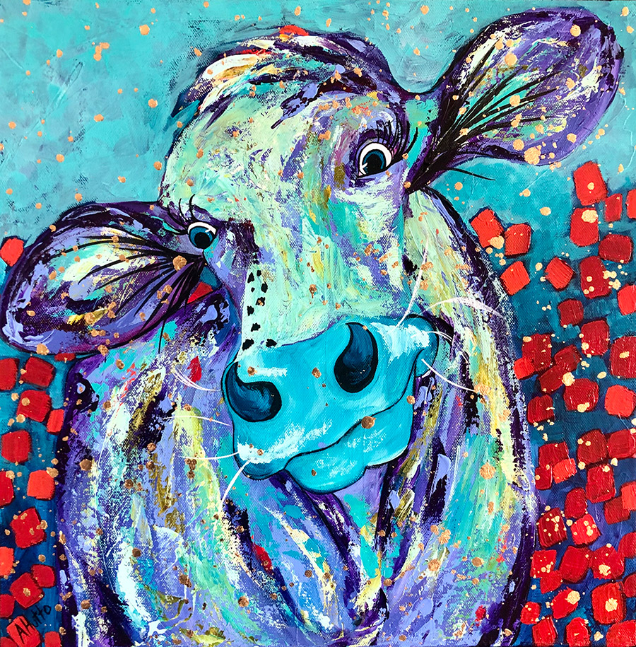 "Amy Hutto ""Helloooooo!"" 16x16 acrylic/gold leaf $495. gallery wrap"