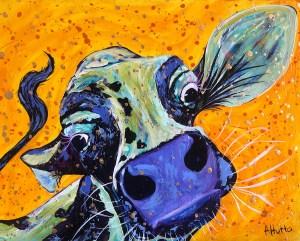 """Amy Hutto """"Hug?"""" 11x14 acrylic/gold leaf $335. gallery wrap"""