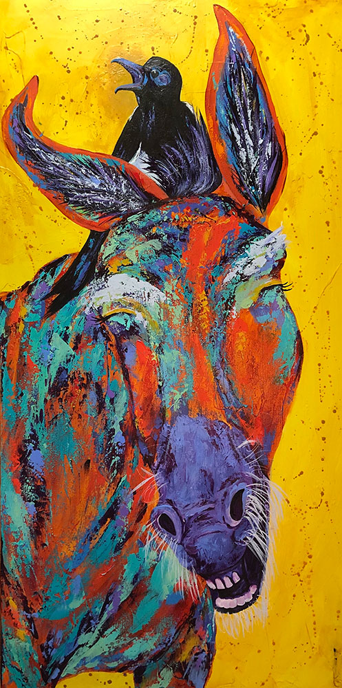 "Amy Hutto ""Inside Joke"" 30x15 acrylic/gold leaf $695. gallery wrap"