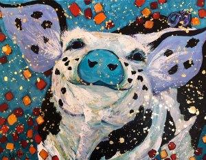 """Amy Hutto """"Joie de Vivre"""" 14x18 acrylic/gold leaf $495. gallery wrap"""