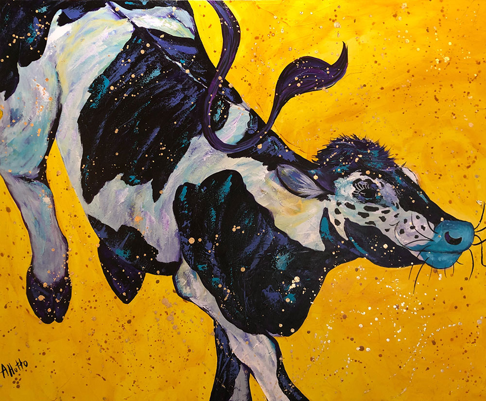 """Amy Hutto """"Kickin' Her Heels Up"""" 24x30 acrylic/gold leaf $1,200. gallery wrap"""