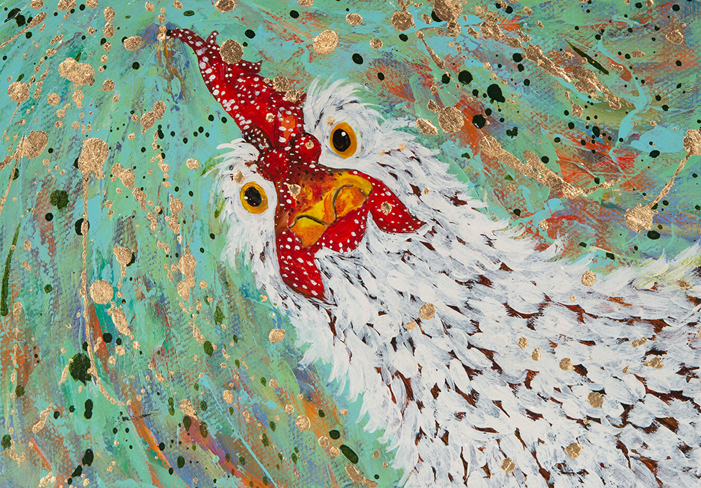 "Amy Hutto ""Look at the Feathers on That"" 5x7 acrylic/gallery wrap $195. SOLD"