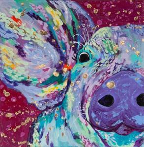"Amy Hutto ""Mugshot"" 6x6 acrylic/gallery wrap $195."