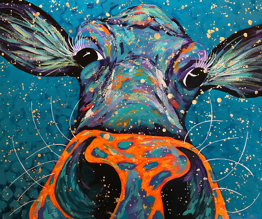 """Amy Hutto """"Nosey"""" 20x24 acrylic/gold leaf $695. gallery wrap"""