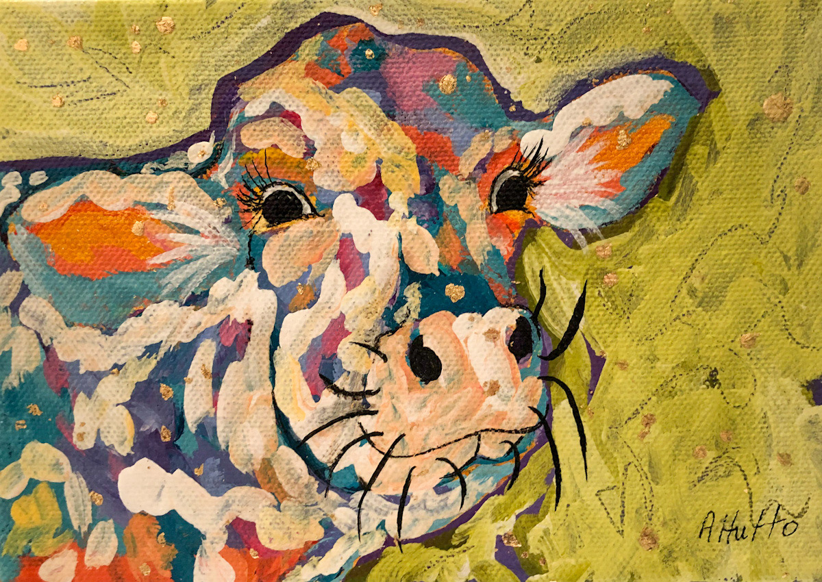 """Amy Hutto """"Painted Lady"""" 7x5 acrylic/gold leaf $195. gallery wrap"""