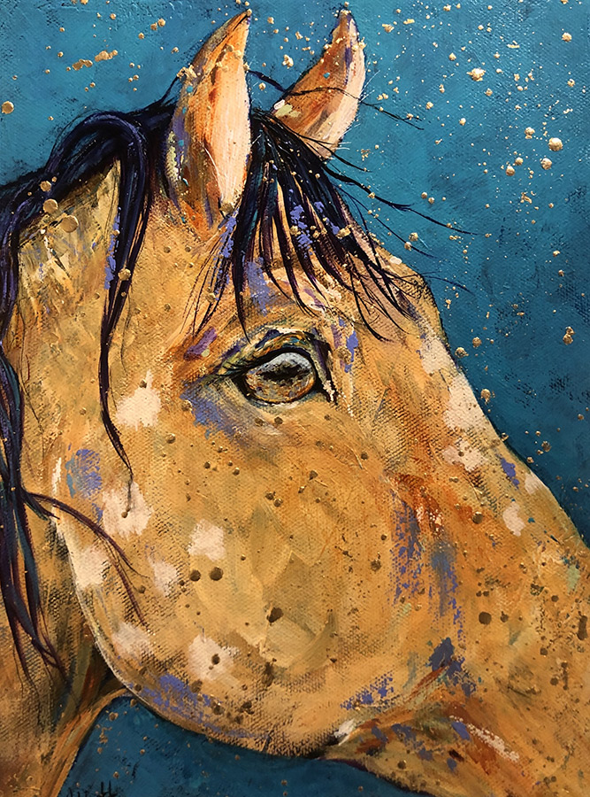 "Amy Hutto ""Range Reflection"" 9x12 acrylic/gold leaf $295. gallery wrap"