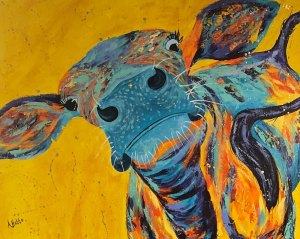 """Amy Hutto """"Ready for My Close-Up"""" 24x30 acrylic/gold leaf $1,200. gallery wrap"""