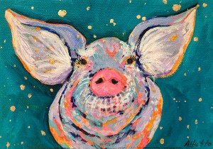 """Amy Hutto """"When You Wish Upon a Star"""" 5x7 acrylic/gold leaf $195. gallery wrap"""