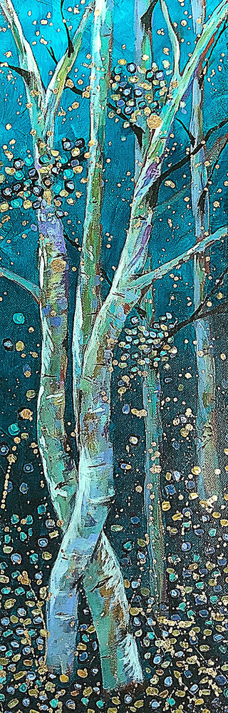 "Amy Hutto ""Tango"" 24x8 acrylic/gold leaf $495. gallery wrap"