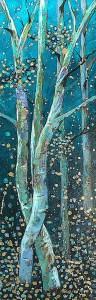 "Amy Hutto ""Tango"" 24x8 acrylic/gold leaf $495. gallery wrap"