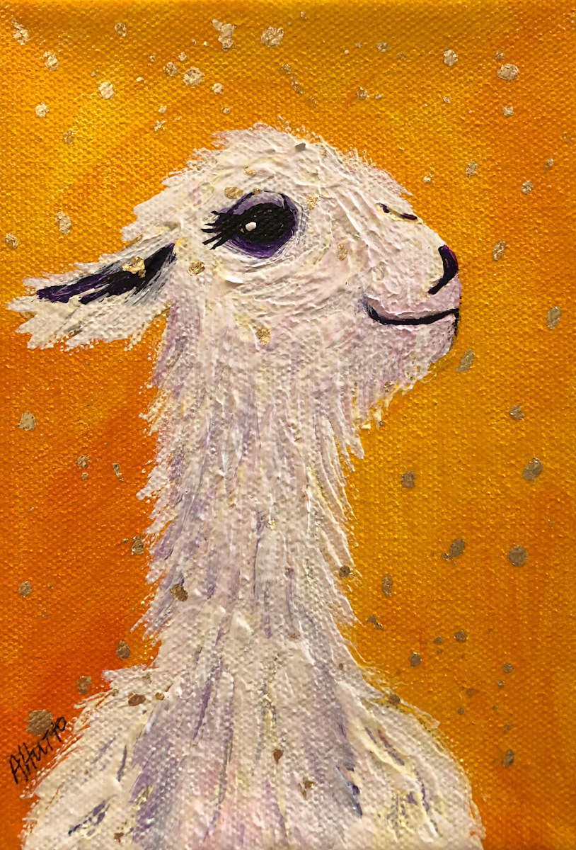 """Amy Hutto """"The Aristocrat"""" 7x5 acrylic/gold leaf $195. gallery wrap"""