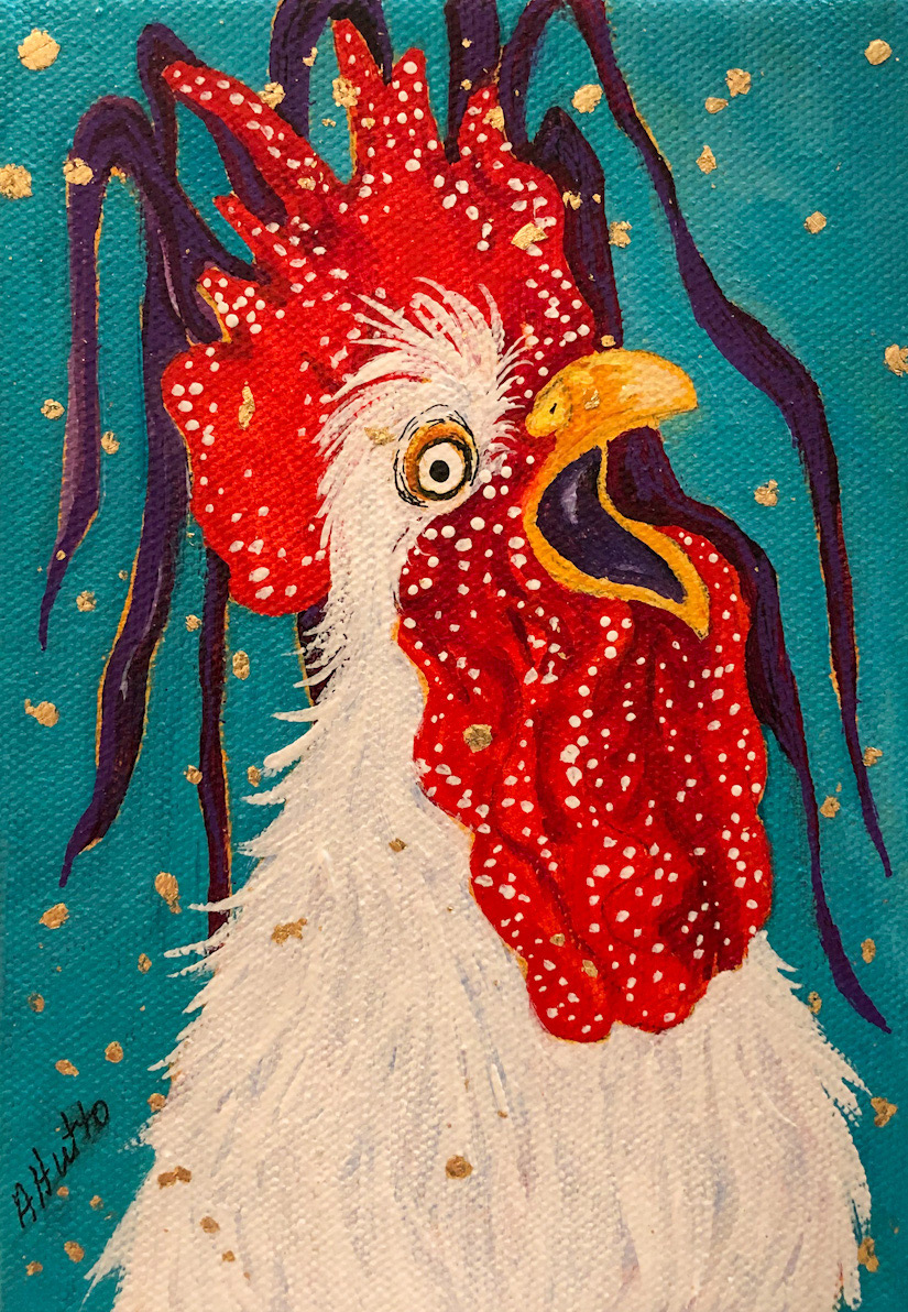 """Amy Hutto """"Wake Up"""" 7x5 acrylic/gold leaf $195. gallery wrap"""