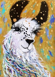 "Amy Hutto ""Well, Hello There!"" 12x9 acrylic/gold leaf $315. gallery wrap"
