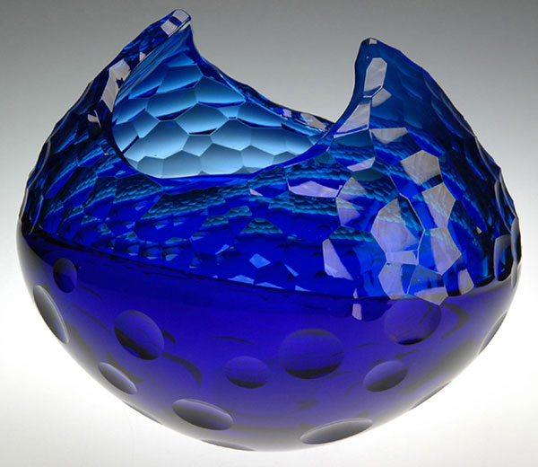 "Aaron Jack ""Blue Cut Bowl"" blown & cold-worked glass $1,200. SOLD"