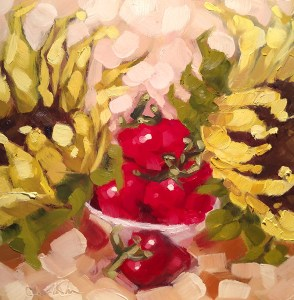 "Christina Johnson ""Fruited Sunflowers I"" 8x8 oil $150."